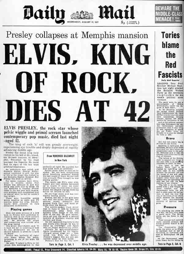 """A Daily Mail címlapja: """"Elvis, a rock királya 42 évesen meghalt"""""""