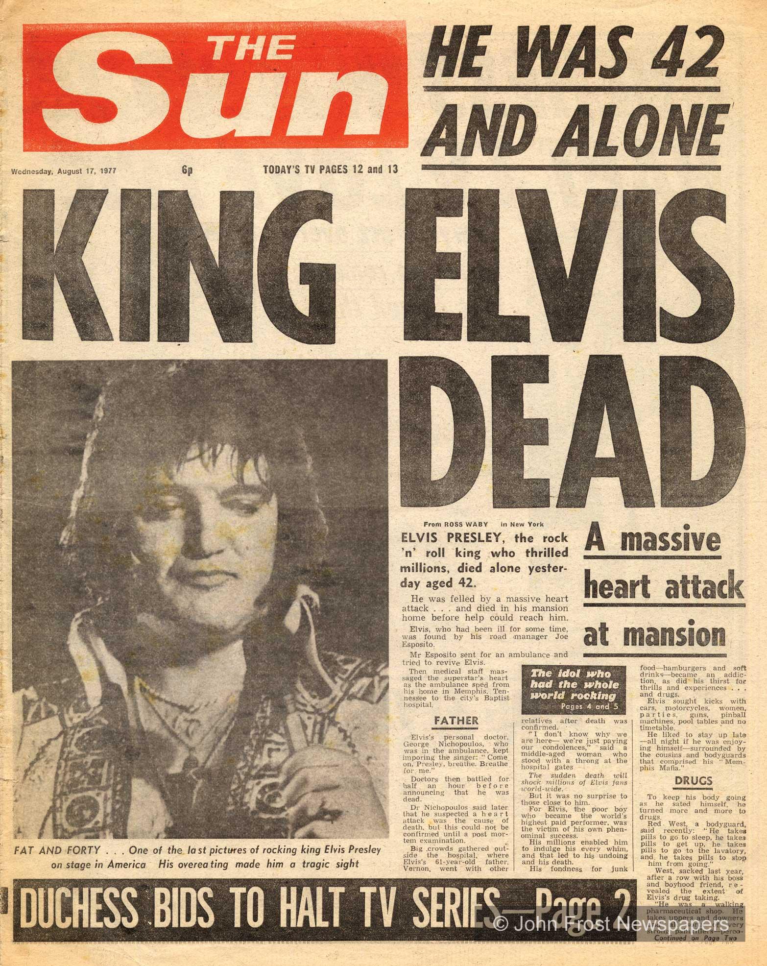 A Sun Magazin címlapja: 42 évesen és egyedül meghalt a király, Elvis